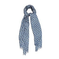 Yumi - Blue Ditsy Daisy Print Cotton Scarf