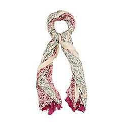 Yumi - Pink Reversible Print Tassel Scarf