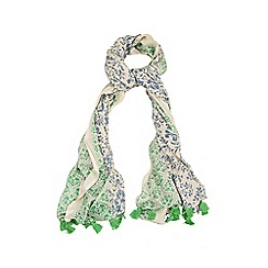 Yumi - Green Reversible Print Tassel Scarf
