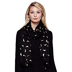 Yumi - Black Gold Feather Printed Scarf