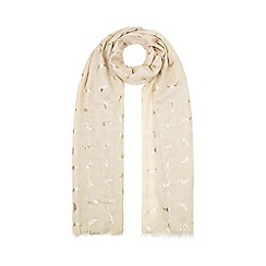 Yumi - Brown Gold Feather Printed Scarf