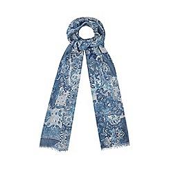 Yumi - Blue Paisley Print Cotton Scarf