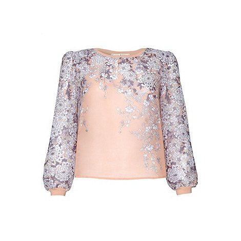 Uttam Boutique - Pink Chrysanthemum print top