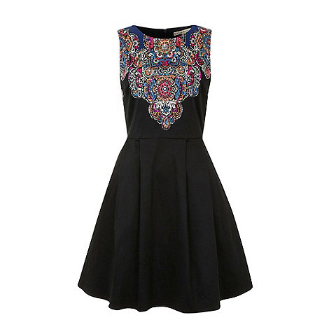 Uttam Boutique - Black Tribal placement print dress