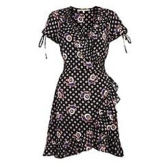 Uttam Boutique - Black Flower and paisley wrap dress