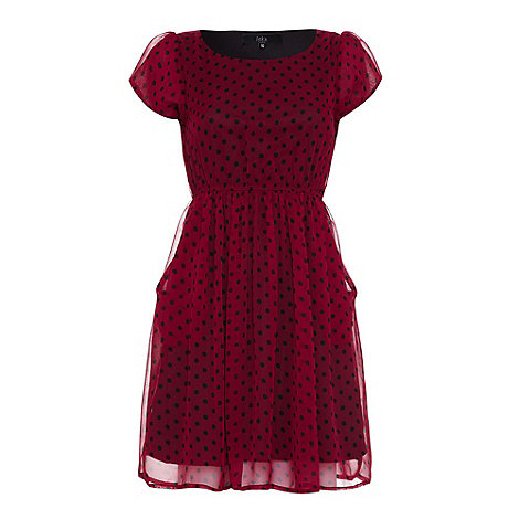 Iska - Wine Polka dot pocket dress