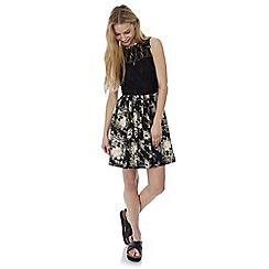 Iska - Black floral print lace skater dress
