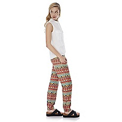 Iska - Multicoloured aztec print slim trousers