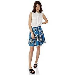 Iska - Blue floral print midi skirt