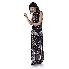 Iska - Black butterfly print keyhole maxi dress