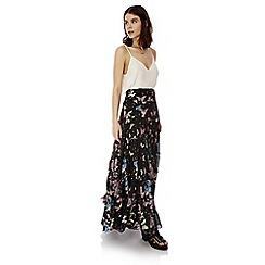 Iska - Black butterfly print pleated maxi skirt