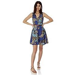 Iska - Blue paisley print skater dress