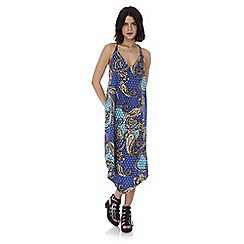 Iska - Blue paisley print strap dress