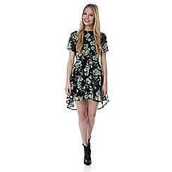 Iska - Green hi low floral print day dress