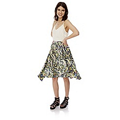Iska - Multicoloured floral print high low hem midi skirt