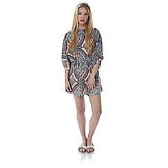 Iska - Multicoloured paisley print self tie tunic dress