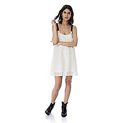 Iska - White briderie anglaise contrast strap dress