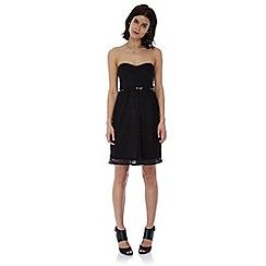 Iska - Black lace strapless bandeau dress
