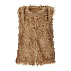 Iska - Brown faux fur sleeveless gilet