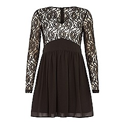 Iska - Black long sleeve lace top dress
