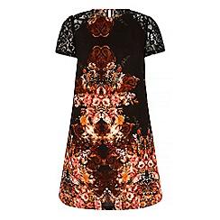 Iska - Black tapestry print lace shift dress