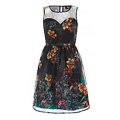 Iska - Black sheer floral print prom dress
