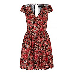 Iska - Red floral motif print lace dress