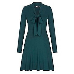 Iska - Green pussybow long sleeve dress