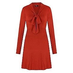 Iska - Red pussybow long sleeve dress