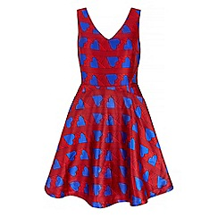 Iska - Red heart print prom dress