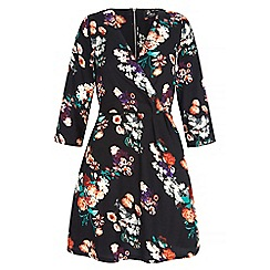 Iska - Black floral print wrap front dress
