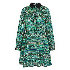 Iska - Green aztec print shirt dress
