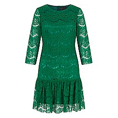 Iska - Green lace peplum shift dress