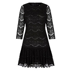 Iska - Black lace peplum shift dress
