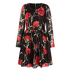 Iska - Black floral print lace long sleeve dress