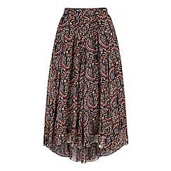 Iska - Black asymmetric paisley print midi skirt