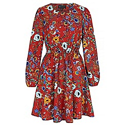 Iska - Red 70s floral print skater dress
