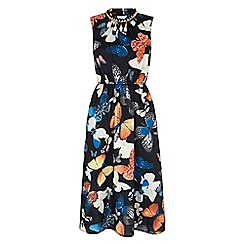 Iska - Black butterfly print embellished midi dress