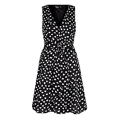 Iska - Black heart print tie dress