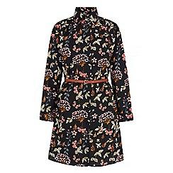 Iska - Black garden print shirt dress
