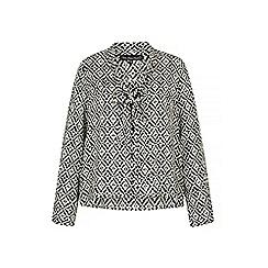 Iska - Black monochrome print pussybow blouse