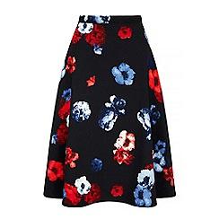 Iska - Black floral print midi skirt