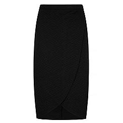 Iska - Black textured wrap pencil skirt