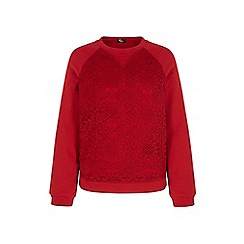 Iska - Red lace panel sweatshirt