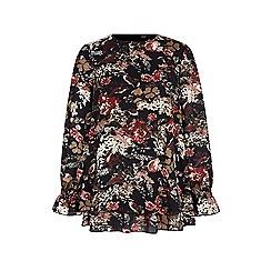 Iska - Black floral and bird print blouse