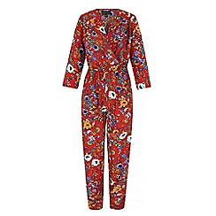 Iska - Red 70s print wrap jumpsuit