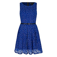 Iska - Blue sequin lace skater dress