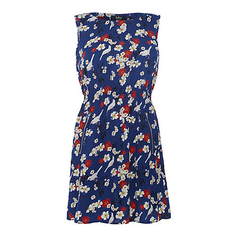 Iska - Blue Floral and bird print zip dress