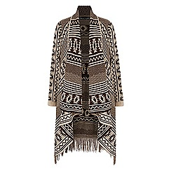 Iska - Brown aztec print long cardigan