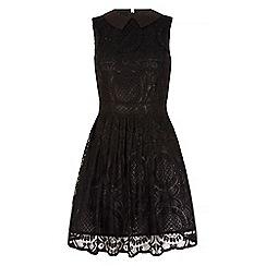 Iska - Black broderie lace collar skater dress